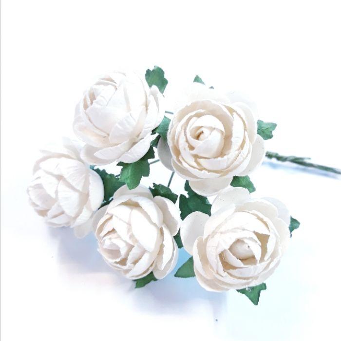 Розы индийские белые 25 мм для скрапбукинга