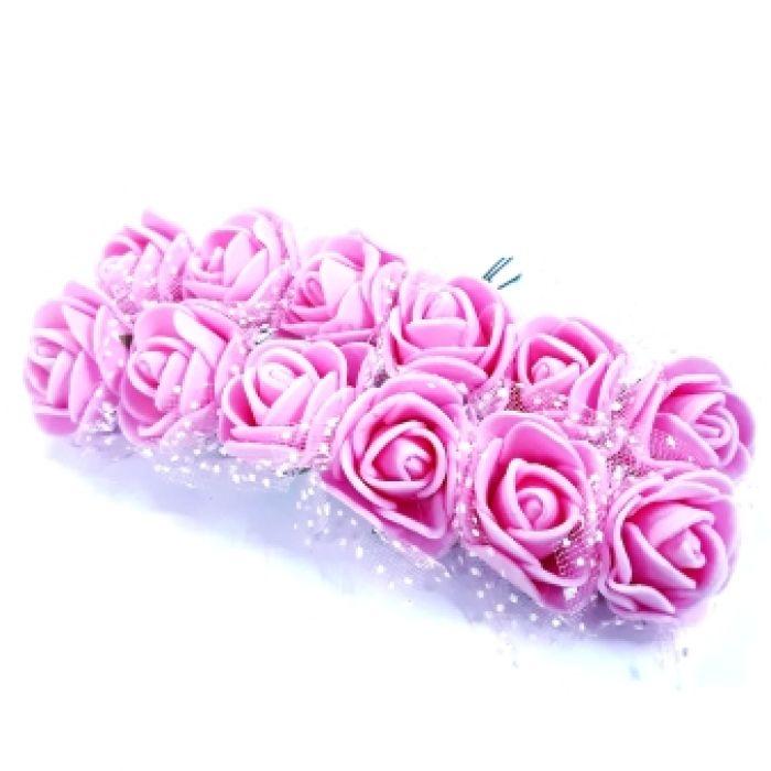 Розы розовые с органзой для скрапбукинга