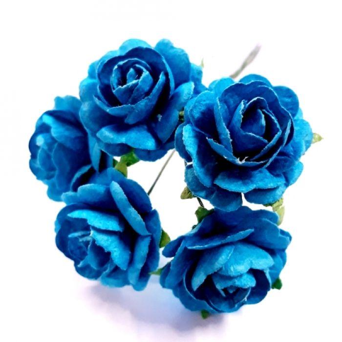 Розы ярко-бирюзовые 23 мм для скрапбукинга