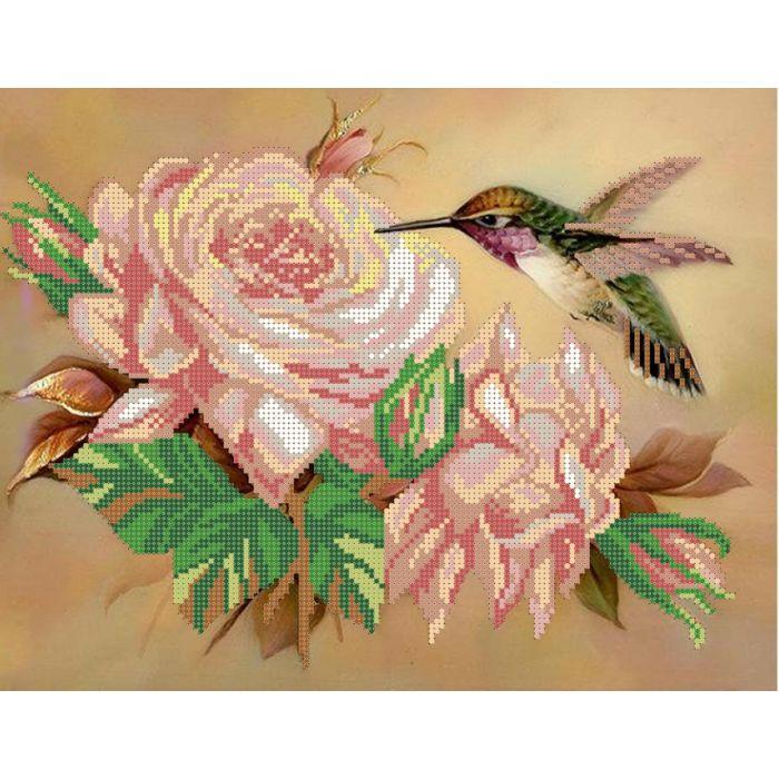 Схема колибри на розе для скрапбукинга