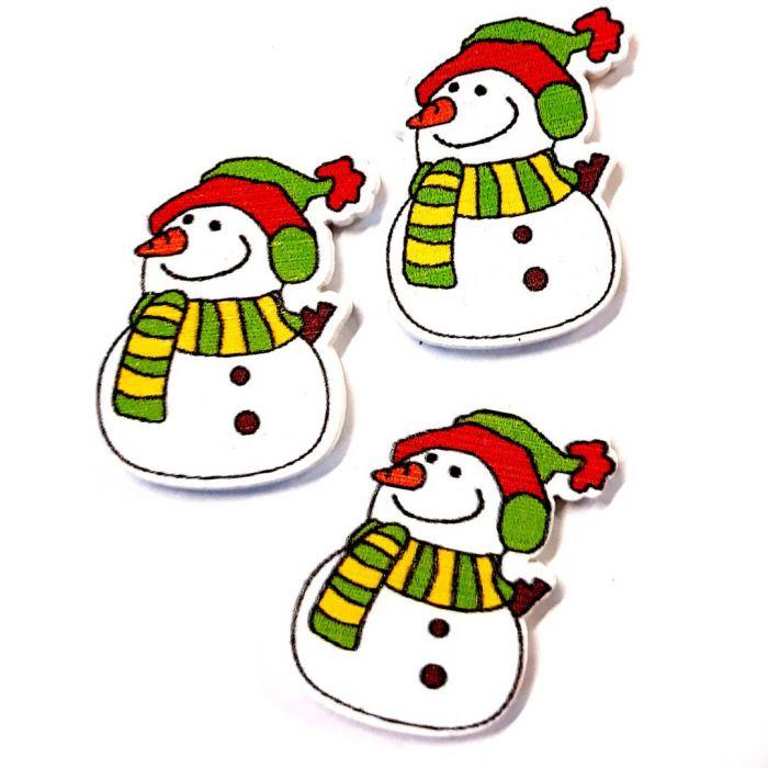 Снеговики в шарфах 30 мм для скрапбукинга