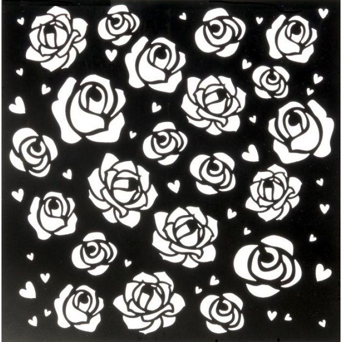 Трафарет розы 15х15 см для скрапбукинга