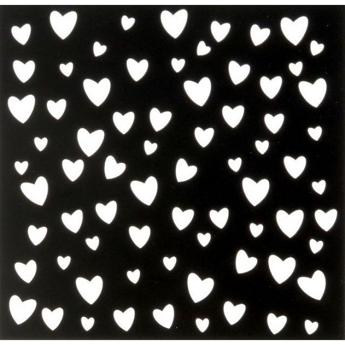 Трафарет сердечки 15х15 см для скрапбукинга