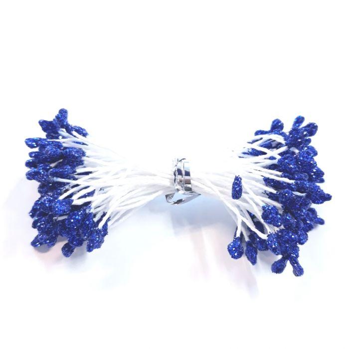 Тычинки синие с блеском 3 мм для скрапбукинга