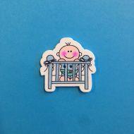 Украшение из дерева малыш в кроватке голубой