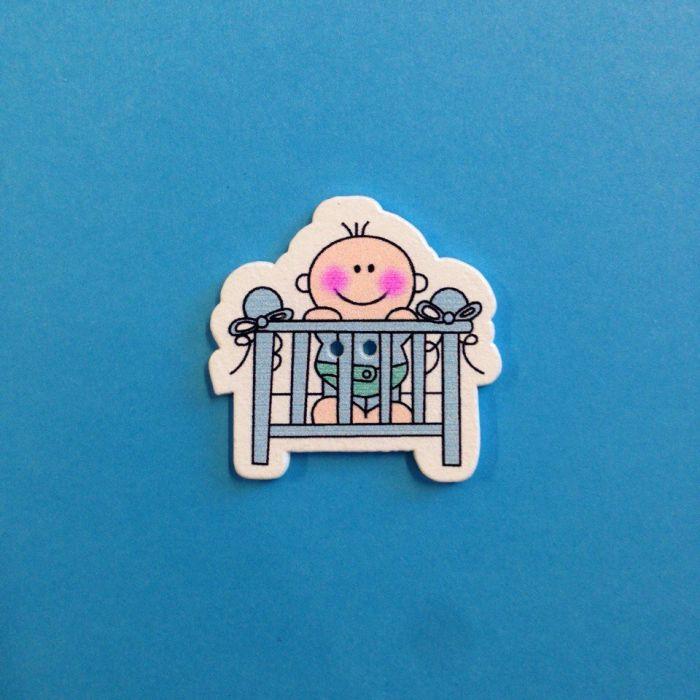 Украшение из дерева малыш в кроватке голубой для скрапбукинга