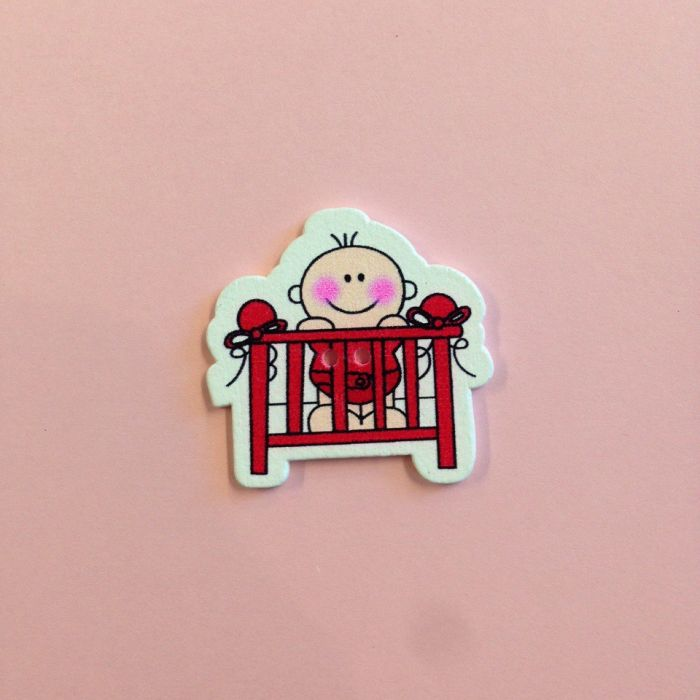 Украшение из дерева малыш в кроватке красной для скрапбукинга
