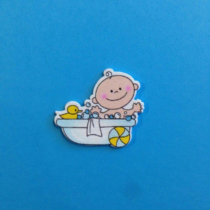 Украшение из дерева малыш в ванной голубой для скрапбукинга