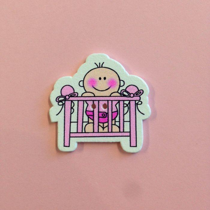 Украшение из дерева малышки в кроватке розовой для скрапбукинга