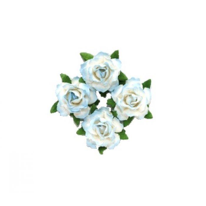 Цветы кудрявой розы сине-белые для скрапбукинга