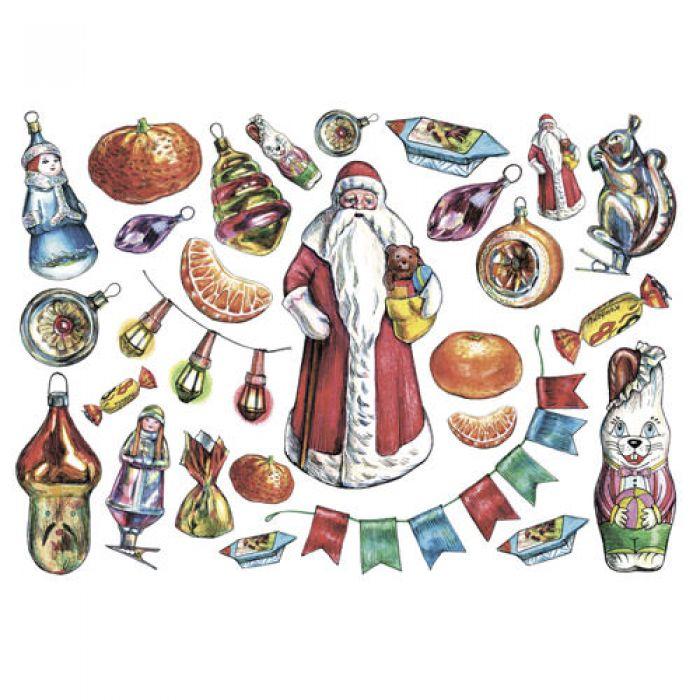 Рисовая бумага Дед мороз для скрапбукинга