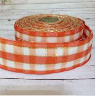 Лента шотландка оранжево-белая с люрексом