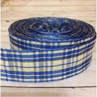 Лента шотландка сине-белая с люрексом