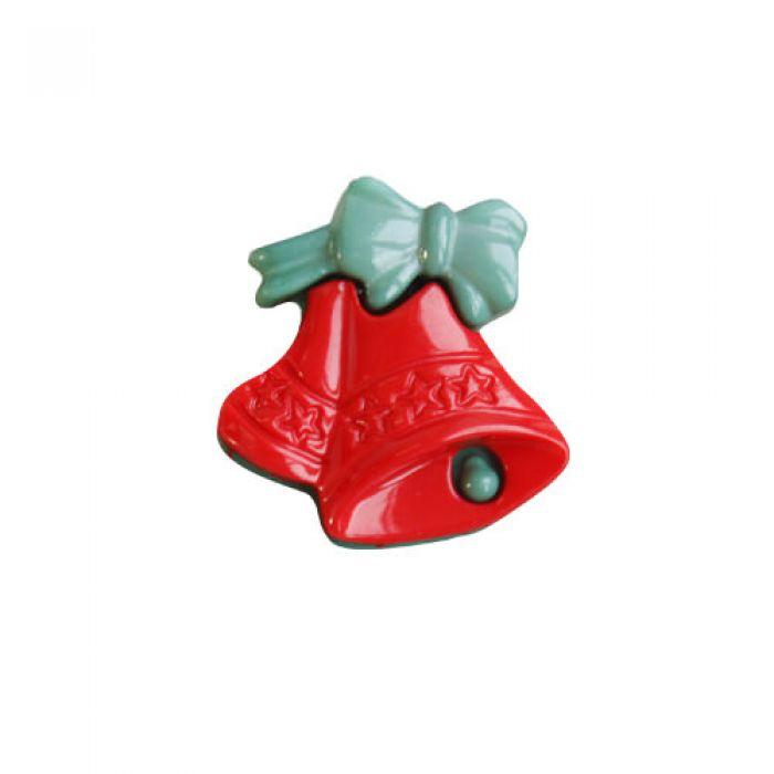 Пуговица колокольчики красные для скрапбукинга