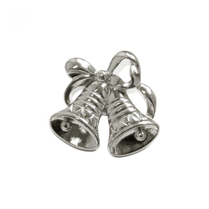 Пуговица колокольчики серебряные для скрапбукинга