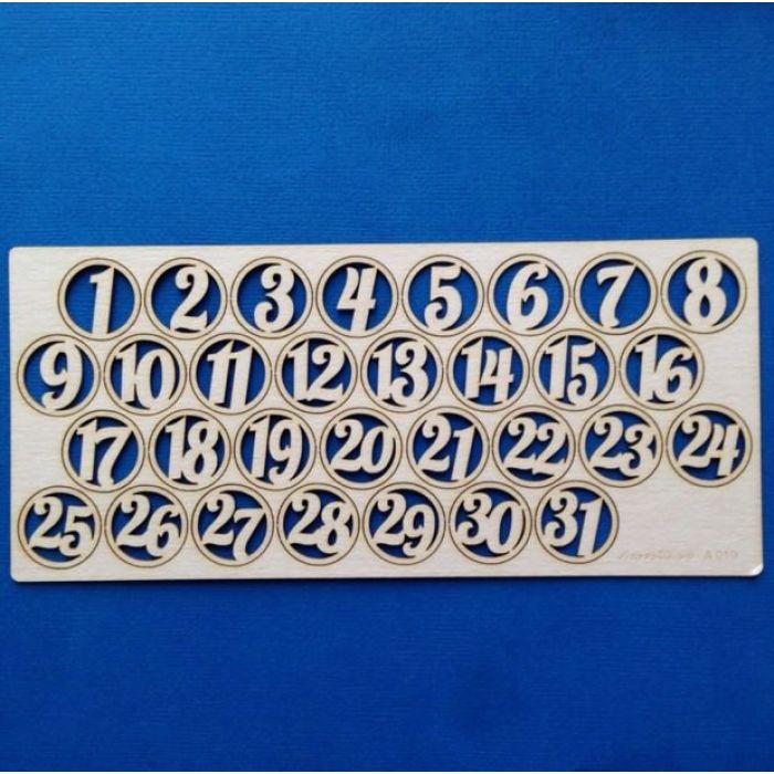Набор цифр в кругах 1-31 для скрапбукинга
