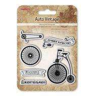 Набор штампов велосипед, коллекция автовинтаж