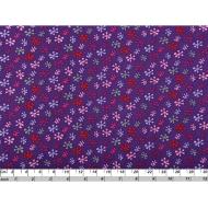 Отрез ткани яркие снежинки на фиолетовом