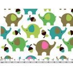 Отрез ткани зеленые слоники