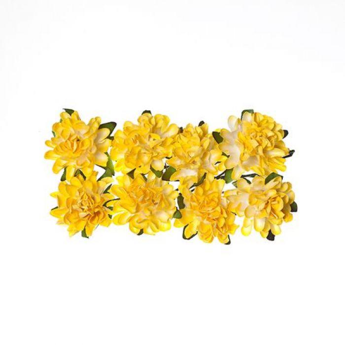 Астры из бумаги нежно-жёлтые для скрапбукинга