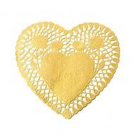 Ажурная салфетка сердце золотое