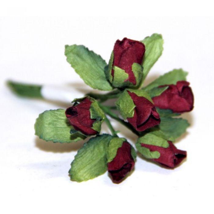 Бордовые бутоны роз для скрапбукинга