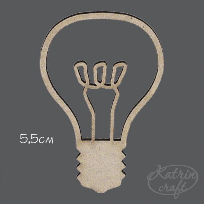 Чипборд лампочка 5,5 см для скрапбукинга