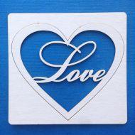 Чипборд надпись Love в сердце