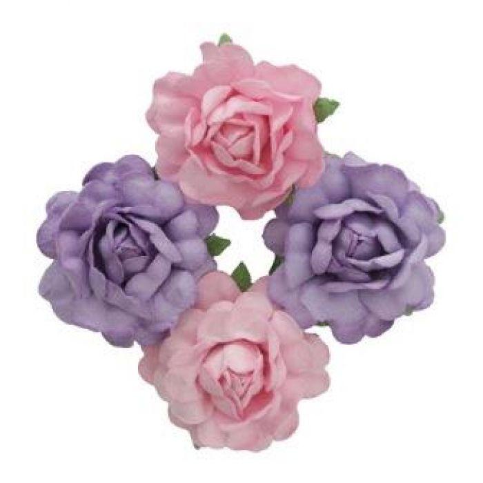 Цветы чайной розы розовые и фиолетовые для скрапбукинга