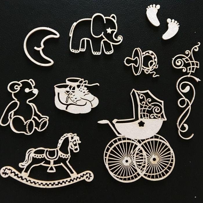 Набор чипборда детские игрушки для скрапбукинга