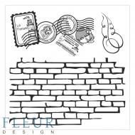 Набор штампов стена с марками фоновые