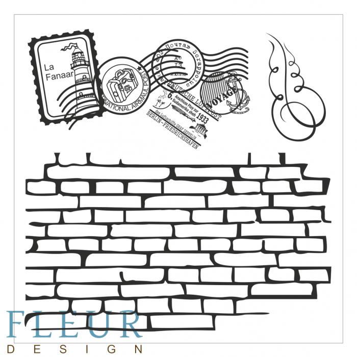 Набор штампов стена с марками фоновые для скрапбукинга