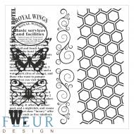 Набор штампов винтаж с бабочками фоновые