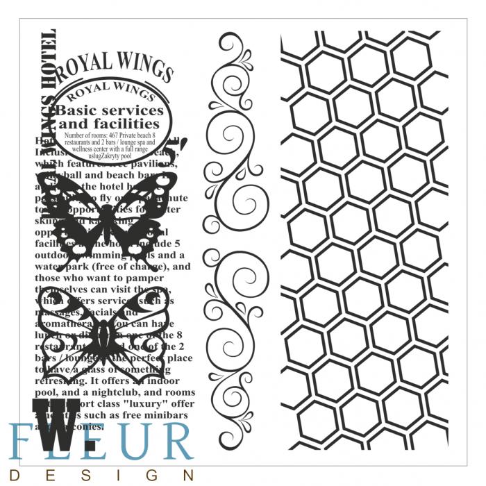 Набор штампов винтаж с бабочками фоновые  для скрапбукинга