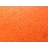 Оранжевая бумага с тиснением цветы с завитками