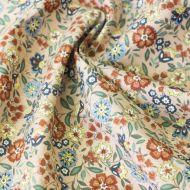 Отрез ткани бежево-голубые цветы