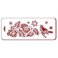 Трафарет птицы на рябине