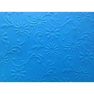 Ярко-голубая бумага с тиснением цветы с завитками