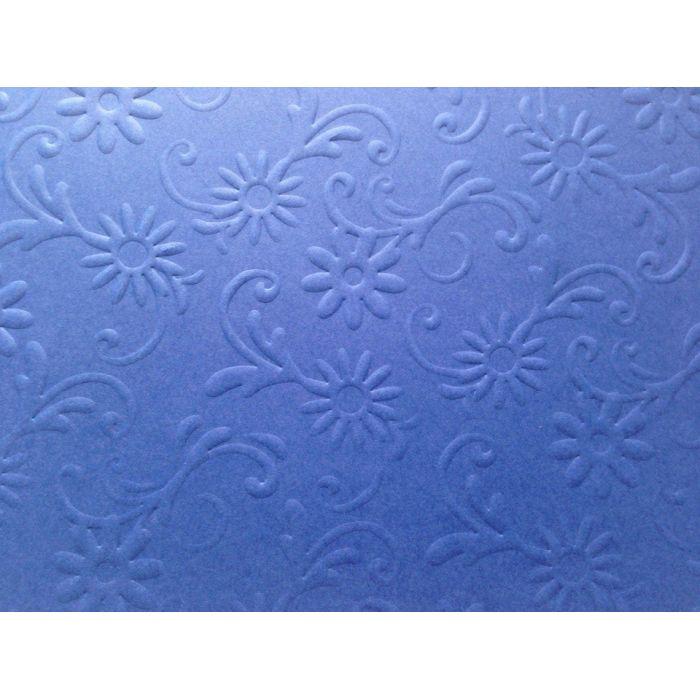 Ярко-синяя бумага с тиснением цветы с завитками для скрапбукинга