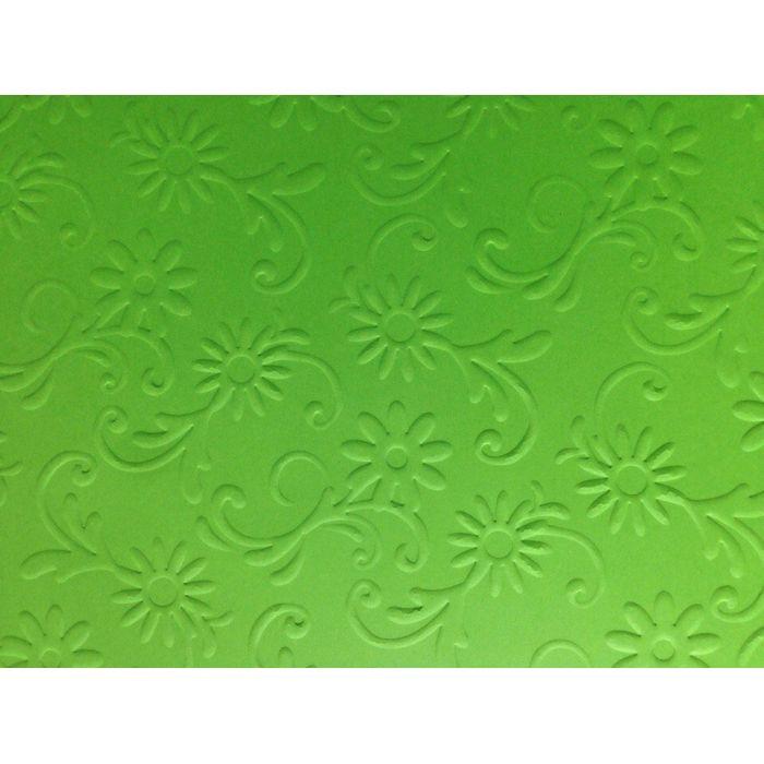 Ярко-зелёная бумага с тиснением цветы с завитками для скрапбукинга
