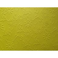 Ярко-жёлтая бумага с тиснением цветы с завитками