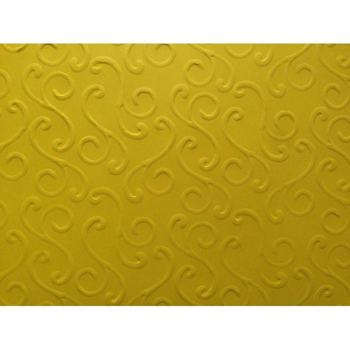 Ярко-жёлтая бумага с тиснением завитки для скрапбукинга