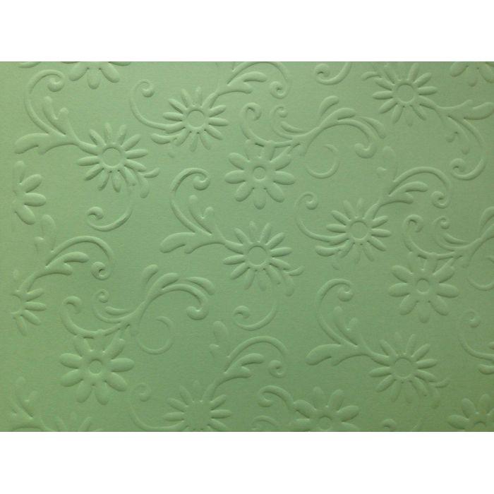Зелёная бумага с тиснением цветы с завитками для скрапбукинга