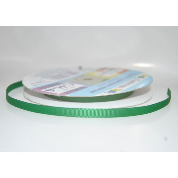 Лента репсовая зеленая для скрапбукинга