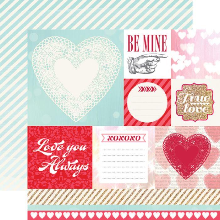 Бумага Be Mine, коллекция Lucky In Love для скрапбукинга