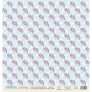 Бумага единороги на бирюзовом, коллекция розовый единорог