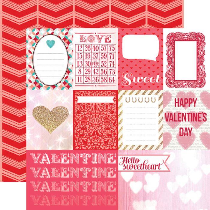 Бумага Journaling Cards, коллекция Lucky In Love для скрапбукинга