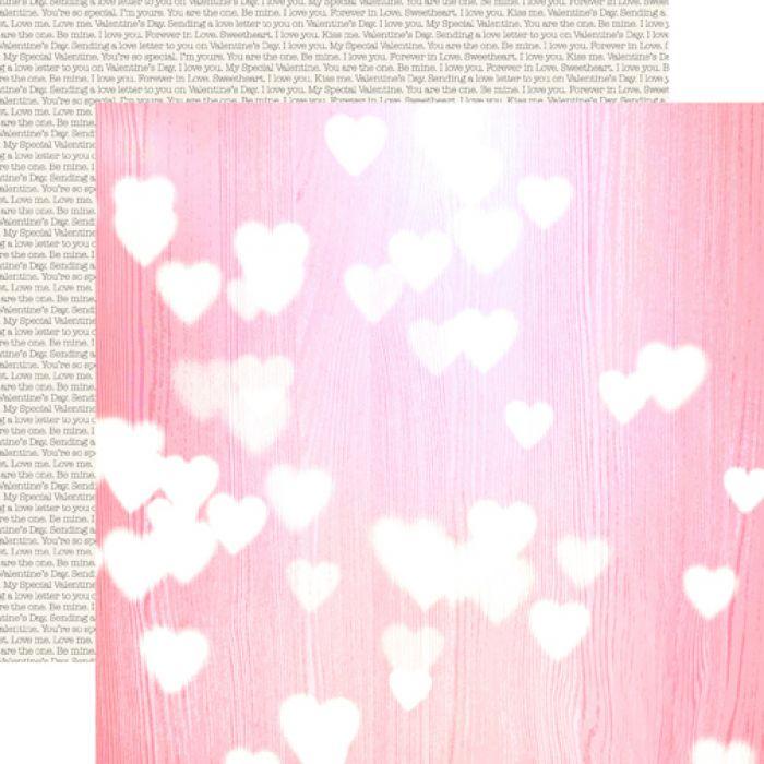 Бумага Pink Hearts, коллекция Lucky In Love для скрапбукинга