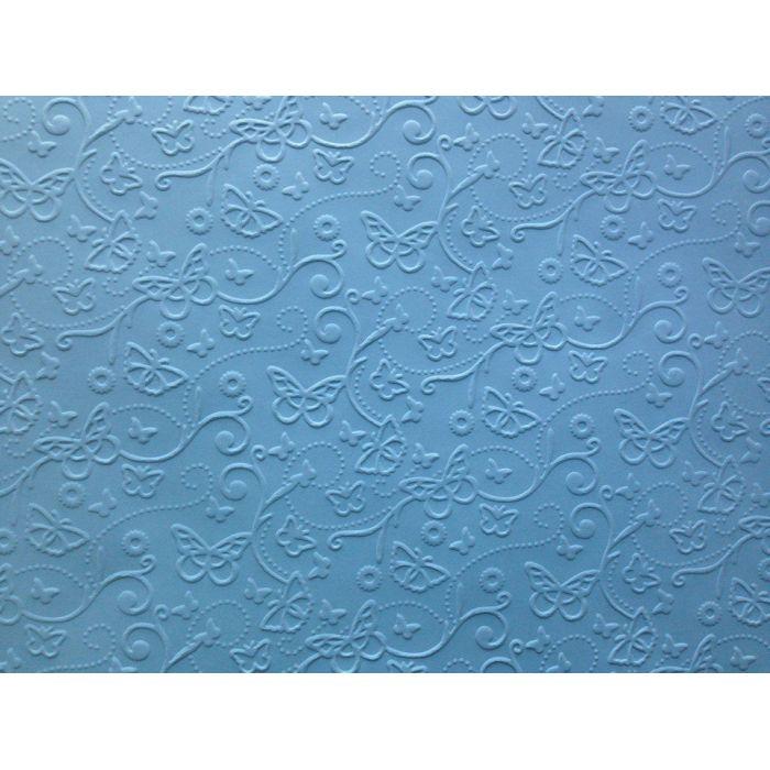 Голубая бумага с тиснением бабочки А4 для скрапбукинга