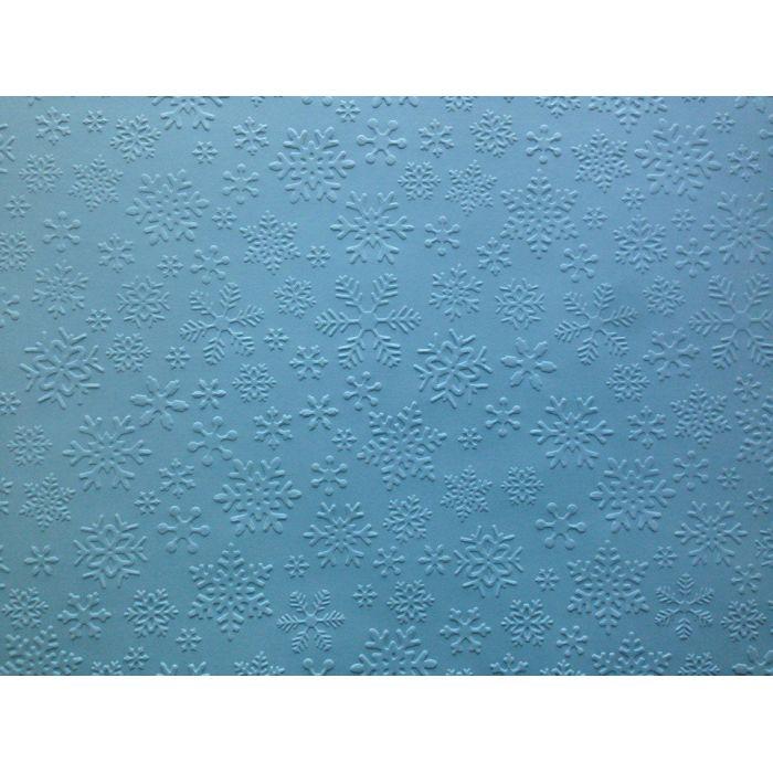 Голубая бумага с тиснением снежинки А4 для скрапбукинга